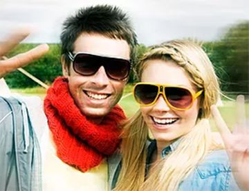 couple wearing polarised sunglasses